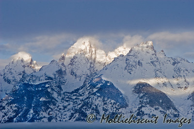 First Light of Morning hitting tops of Tetons