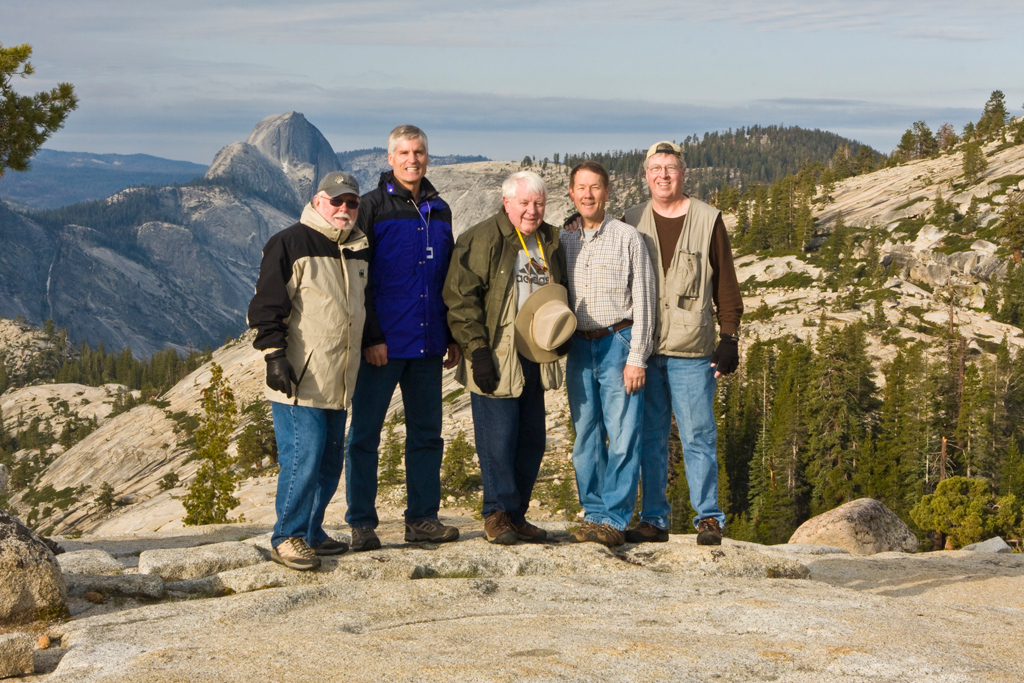 The Halfdome Gang at Olmstead Point 2009 L to R: Dwain Shaw, Bob Watters, Myron Rice, Tom Pope & Tom Gallien