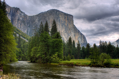 El Capitan with approaching rain.