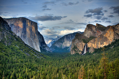 HDR Image from Tunnelview. El Capitan seen on left, Half Dome distant center, and Bridalveil Falls on right.