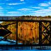 Beautiful Fall day on lake with rail trail