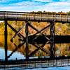 Rail trail bridge flections and fall colors