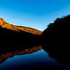 Strip on light head waters of lake