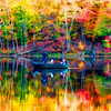 Brilliant colors surrounding fishing boat in the Fall   paintography