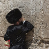 Textured image of an Orthodox Jew praying against the Western Wall, Wailing Wall