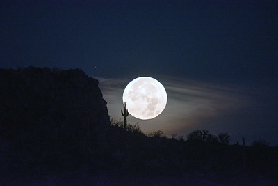 Super Moon Setting at Dawn Dinosaur Mt Gold Canyon AZ
