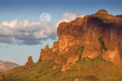Supermoon Rising North end of Superstition Mts