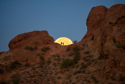 Super Moon Setting Papago Park Phoenix Arizona