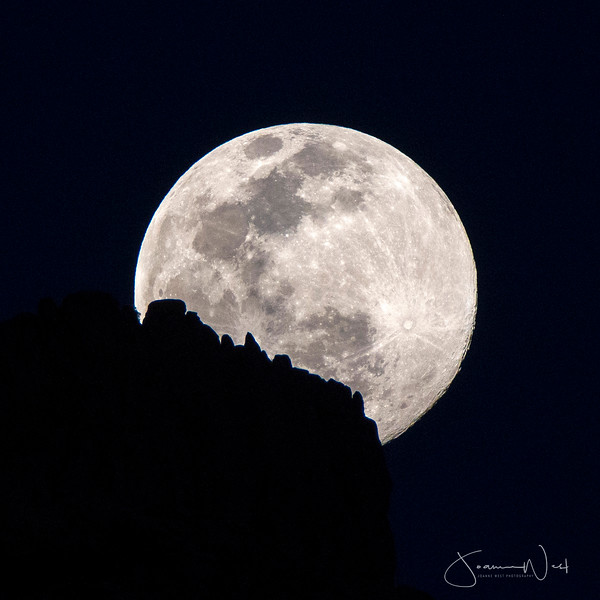 March 2020 Supermoon Rising over Superstition Mountain Ridge