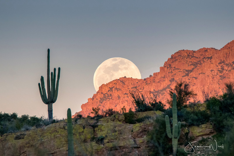 Horizontal Version Supermoon Rising over Apache Leap Superior AZ