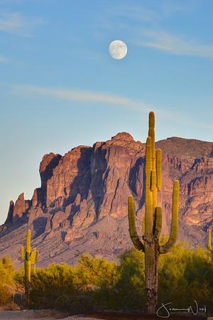 Northwest end of Superstition Mountains with Full Moon at Dusk