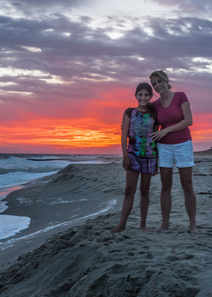 Mom & Daughter at the Beach at Sunset
