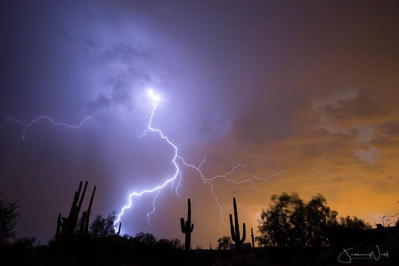 Epic Sunset with Lightning Storm, Arizona