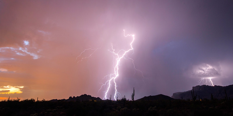 Twilight Lightning Storm Overview Gold Canyon and Superstition Mtns