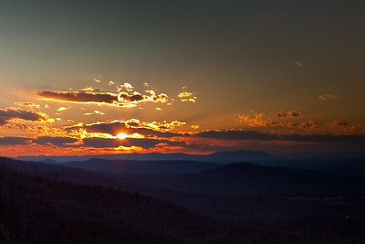 "Sunset in the Blue Ridge Mountains.  Please leave comments and give your favorite photos the ""Thumbs Up"" by mousing over the image and selecting the green hand!"