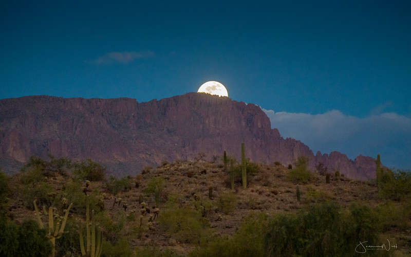 Last Full Moon of 2020 Rising Superstition Mts Gold Canyon AZ