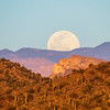 Supermoon Rising Over Superstition Foothills at Sunset