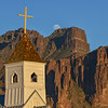 Full Moon Rising over Superstition Mtns with Chapel Cross