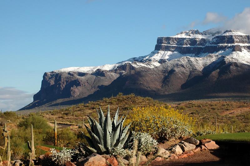 Rare Snow Superstition Mountains, Gold Canyon AZ