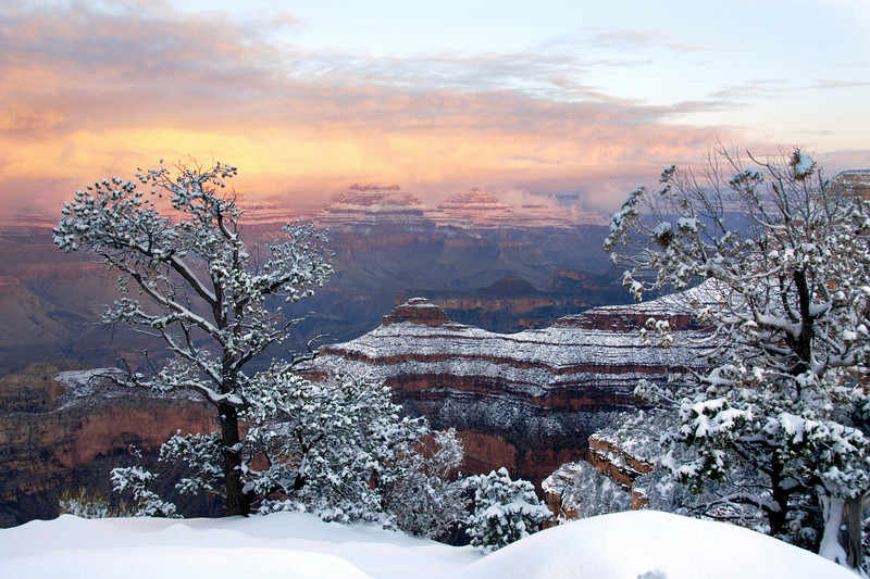 New Years Day Snow at Dawn, South Rim Grand Canyon