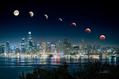 Total Lunar Eclipse over San Francisco