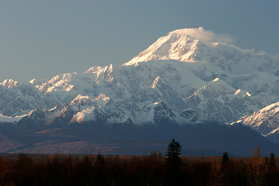Wind plume off Denali's summit, viewed from Talkeetna, Alaska.