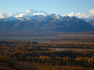 Denali in autumn, over the upper Chulitna River valley.