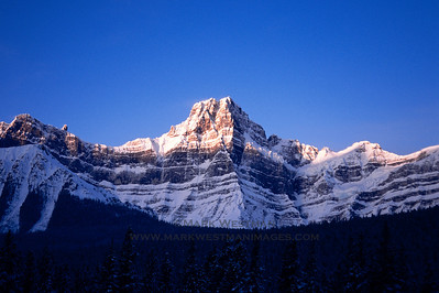 Morning light on the east face of Howse Peak, Alberta.