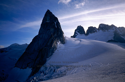 Pigeon Spire and the Howser Towers over the Vowell Glacier, Bugaboos, British Columbia.