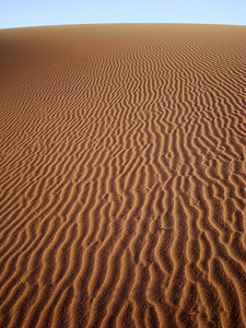 Wind rippled sand in Erg Chigaga, Morocco.