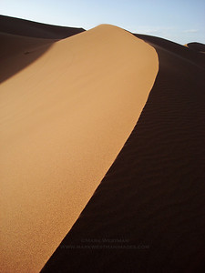 Light detail on sand dune, Erg Chigaga, Morocco.