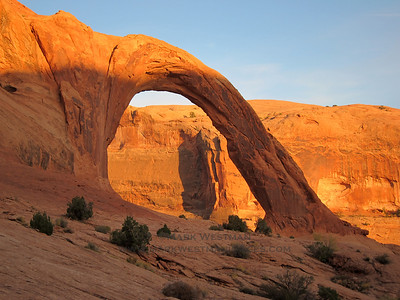 Sunset on Corona Arch, Moab, Utah.