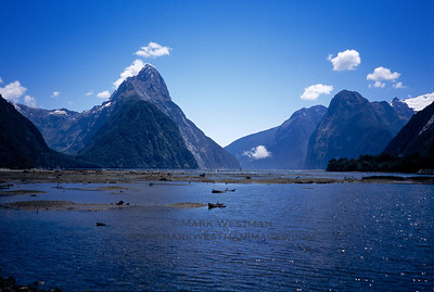 A rare sunny day in Milford Sound, south island of New Zealand.