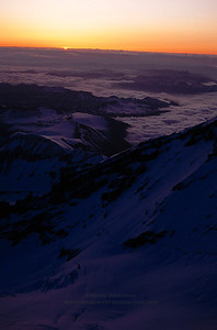 Sunrise from Liberty Ridge, Mount Rainier, Washington.