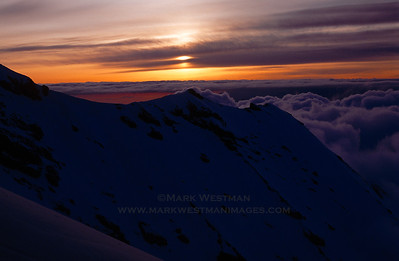 Sunset from Liberty Ridge, Mount Rainier, Washington.