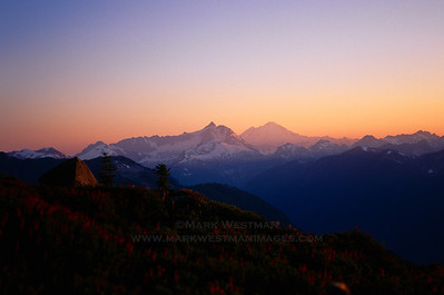 Sunset over Mount Shuksan and Mount Baker, North Cascades, Washington.