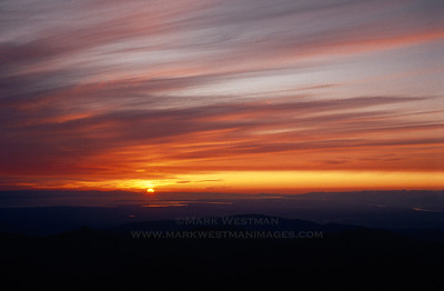 Sunset over north Puget Sound from Mount Baker, Washington.