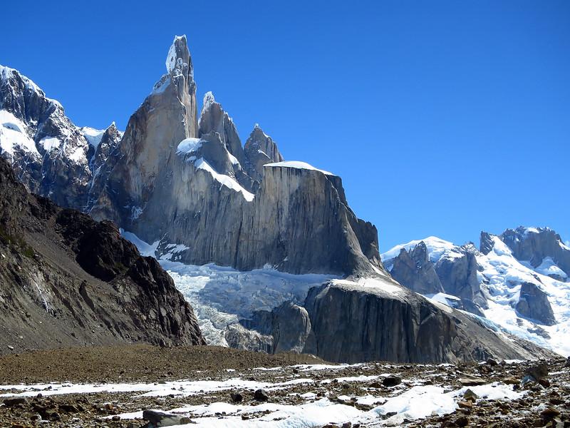 Cerro Torre looming over the Torre Glacier.
