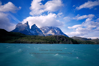 The spectacular spires of Torres del Paine above Lago Njordenskold, in Torres del Paine National Park, Chile.