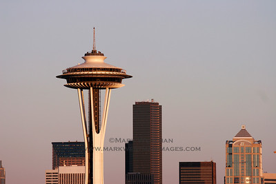 Evening light over the Space Needle and downtown Seattle, Washington.