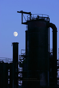 Moonrise at Gas Works Park, Seattle, Washington.