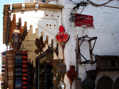 Wares for sale in Essaouira, Morocco.