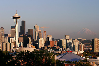 Seattle, Washington, and Mount Rainier.
