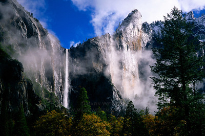 Clearing autumn storm and Bridalveil Fall, Yosemite National Park, California.