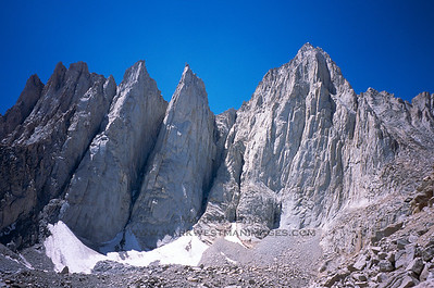 The east face of Mount Whitney, California. To the left are Keeler Needle, Day Needle, and Third Needle.