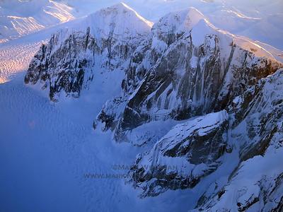 Mount Church, Mount Grosvenor, and Mount Johnson in winter.
