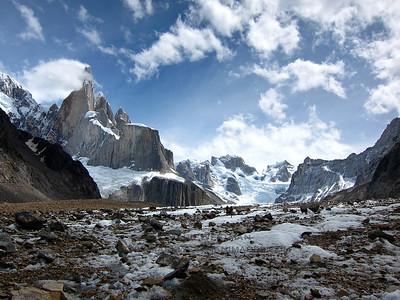 Cerro Torre and Pier Giorgio above a blustery Torre Glacier.