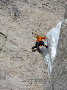 Overhanging ice on the Slovak Direct route, Denali.