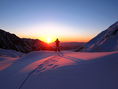 Sunrise from Denali's Muldrow Glacier.