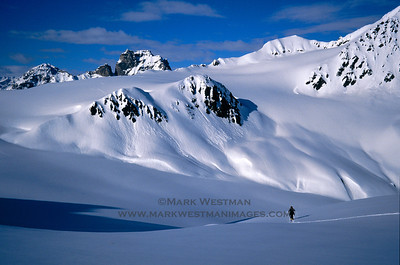 A great spring day of ski touring off the Whistler Glacier in the foothills of the Alaska Range.